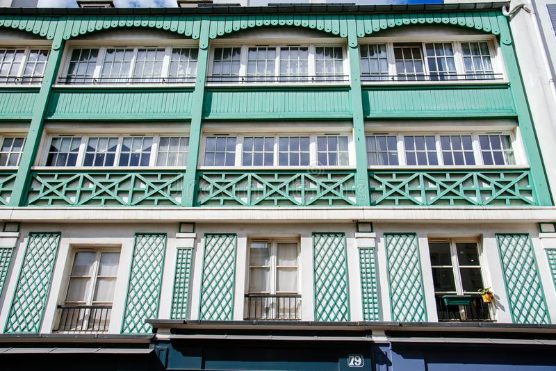 Paris Monmartre House Facade with Windows royalty free stock photo