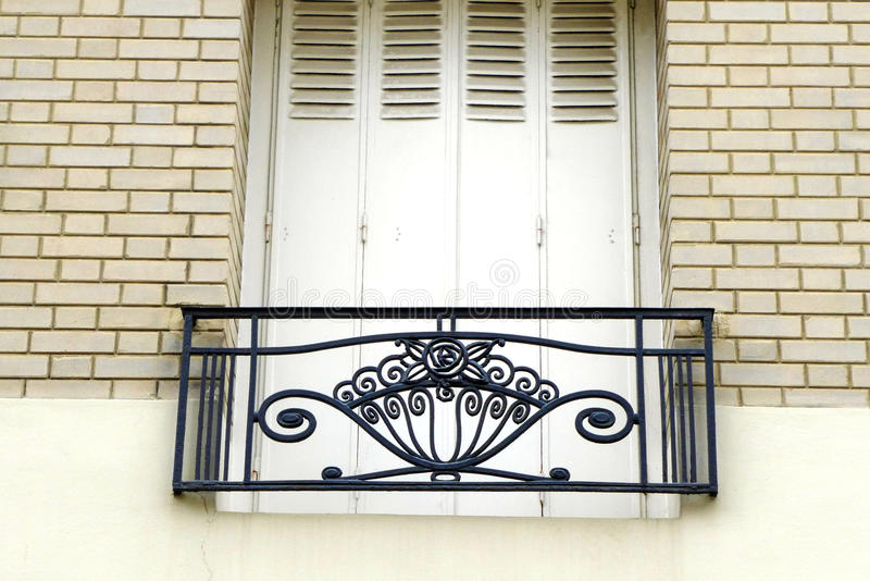 Paris Montmarte apartment balcony Art Nouveau style royalty free stock photos