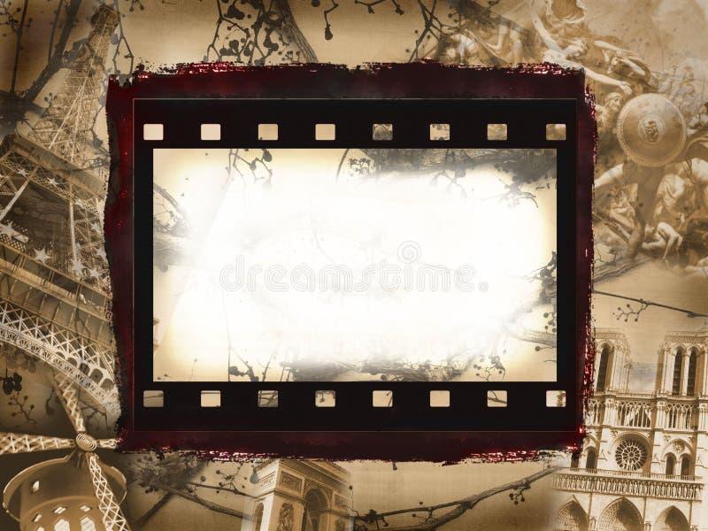 Download Paris Monuments In Grunge Film Background Stock Illustration - Image: 12721213
