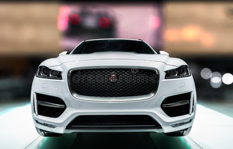 Paris MotorShow 2016 - Jaguar utformar sportsliga lyxiga engelska royaltyfri bild