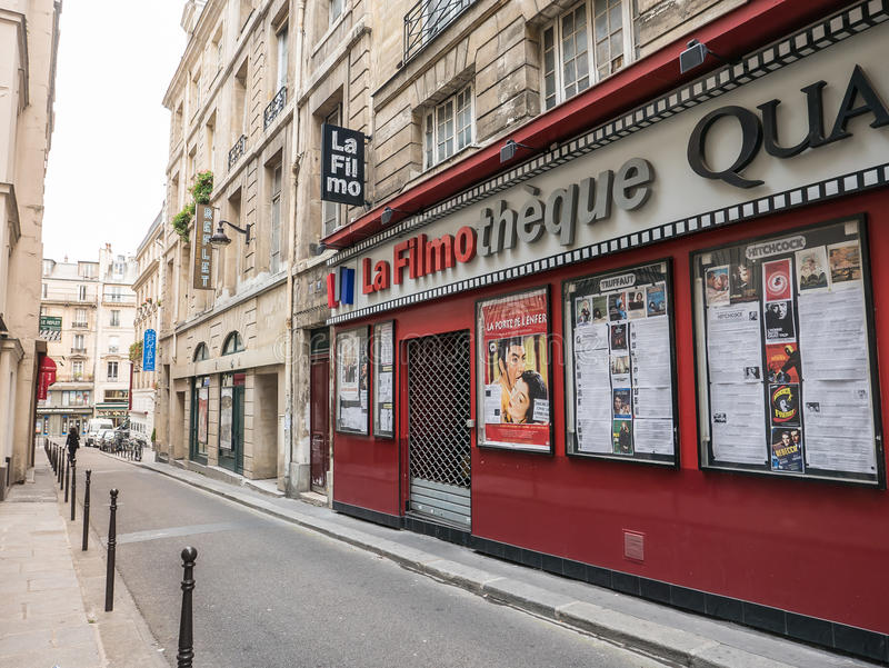 Paris movie theater with coming attractions posters royalty free stock image