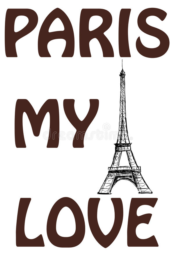 Paris, my love. The words on a colorful watercolor background wi royalty free illustration