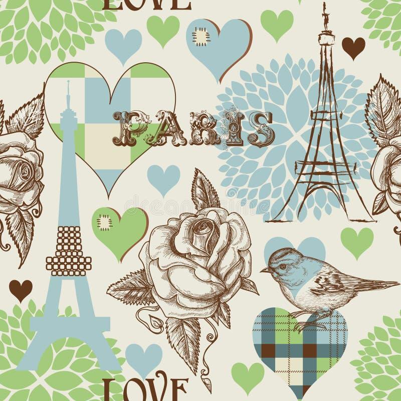 Paris-nahtloses Muster lizenzfreie abbildung