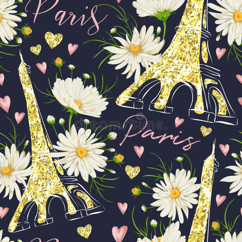 paris Nahtloses Muster der Weinlese mit Eiffelturm, Herzen mit goldener Funkelnfolienbeschaffenheit und Kamille blüht vektor abbildung