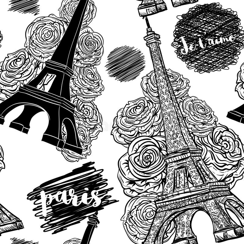 paris Nahtloses Muster der Weinlese mit Eiffelturm, Rosen und Tintengekritzeln stock abbildung