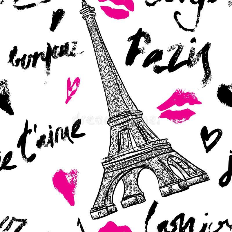 paris Nahtloses Muster der Weinlese mit Eiffelturm und Hand gezeichneter Beschriftung stock abbildung