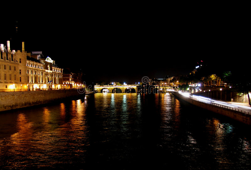 Download Paris by night stock image. Image of river, edge, conciergerie - 120025