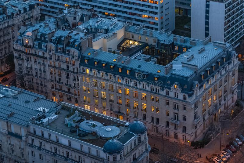 Paris, by night building. Lit windows, view from the Eiffel tower stock photos