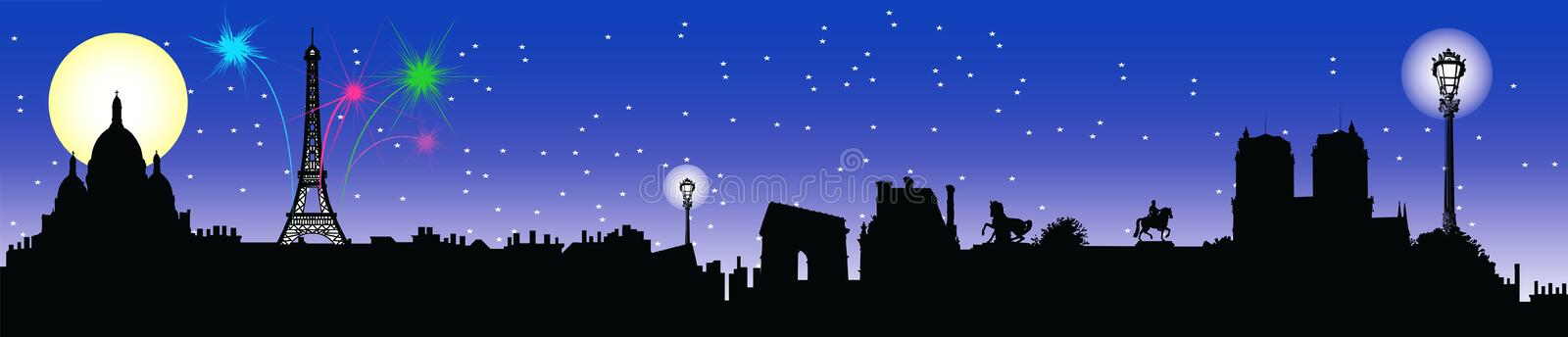 Download Paris night skyline stock illustration. Image of cathedral - 5926392