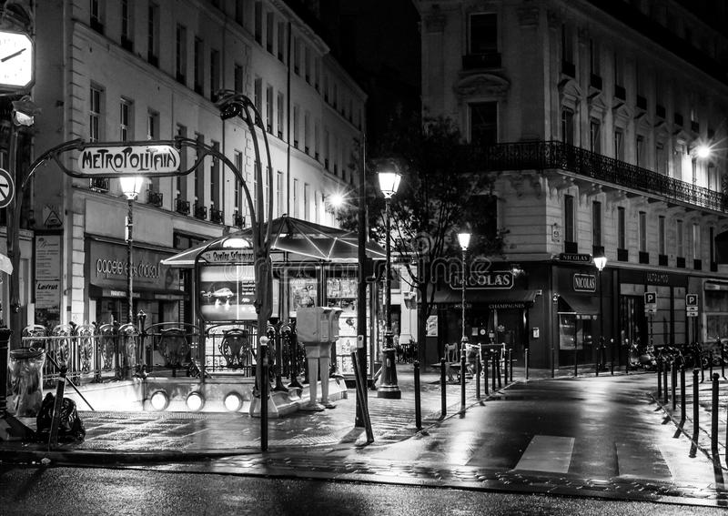 Paris by night: station du quatre septembre on a cold rainy night stock photos