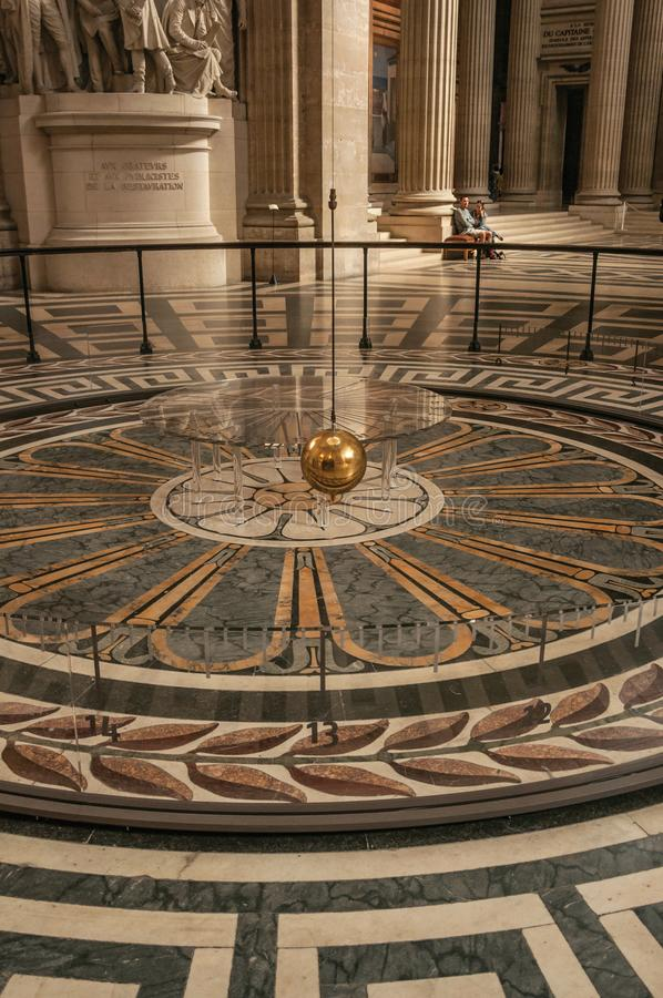 View Of The Famous Foucault Pendulum Copper Ball Swinging