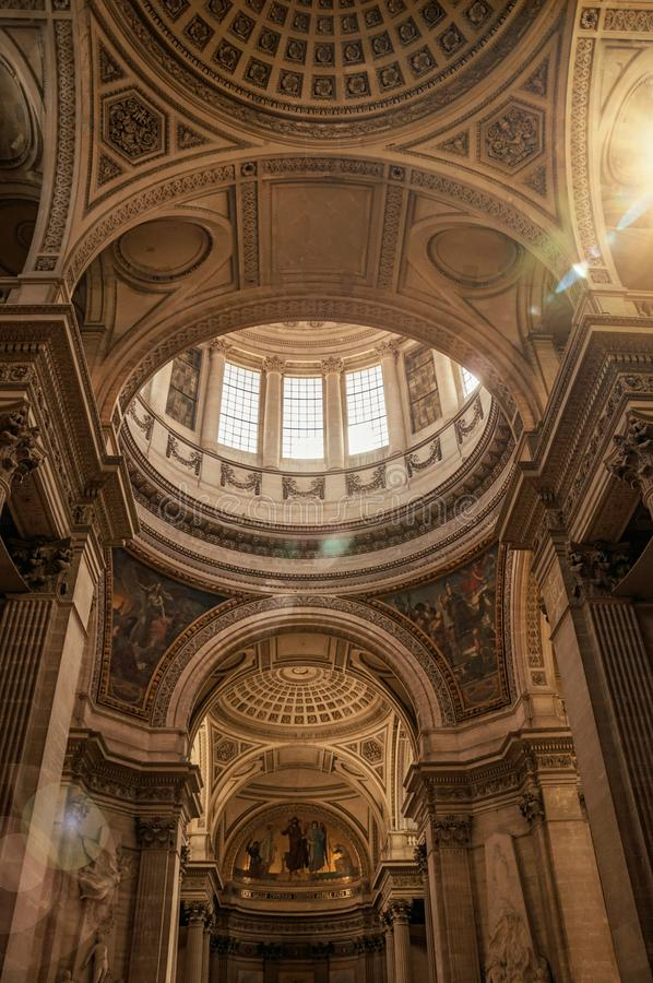 View of the richly decor at Pantheon dome and sunlight in Paris. royalty free stock photo