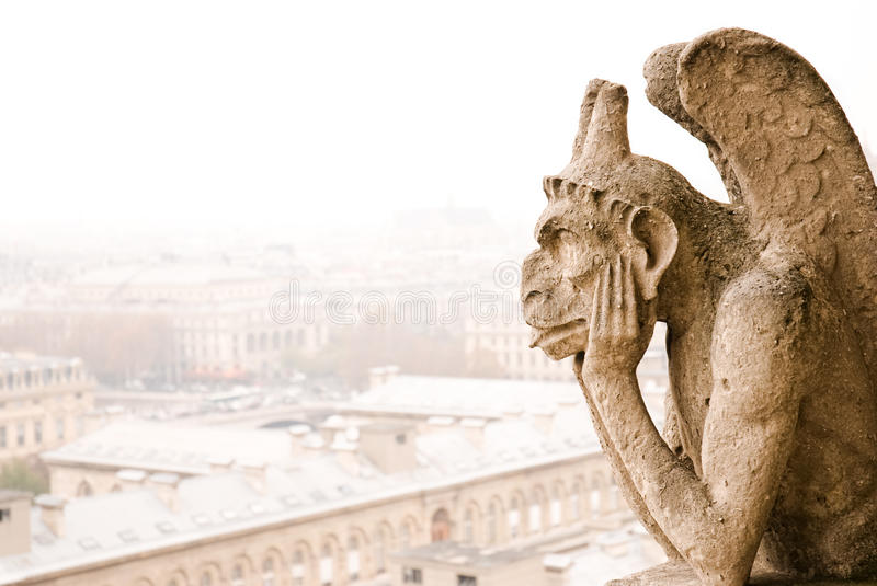 Paris Notre Dame Cathedra Chimere Royalty Free Stock Photography