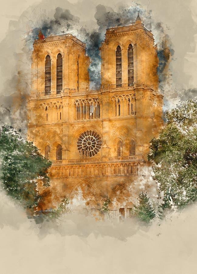 Paris Notre Dame Cathedral - en turist- dragning royaltyfri bild