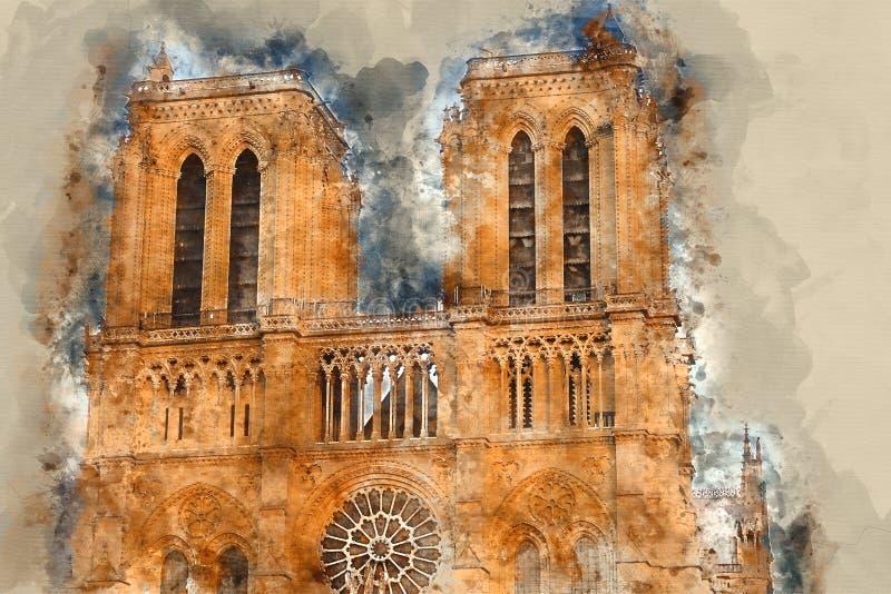 Paris Notre Dame Cathedral - en turist- dragning arkivfoto