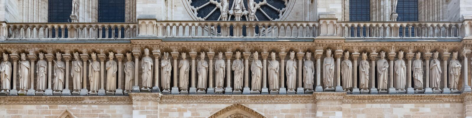 Paris, Notre-Dame cathedral, the kings gallery. Paris, Notre-Dame cathedral in the ile de la Cite, the kings gallery on the western facade royalty free stock images