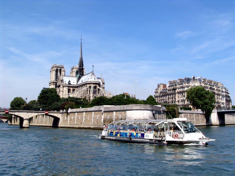 Paris Notre Dame do rio fotografia de stock