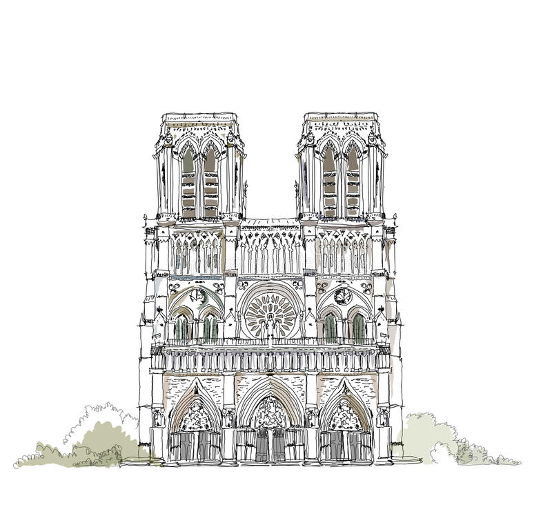 Free Paris, Notre Dame, Sketch Collection Royalty Free Stock Photo - 39020345