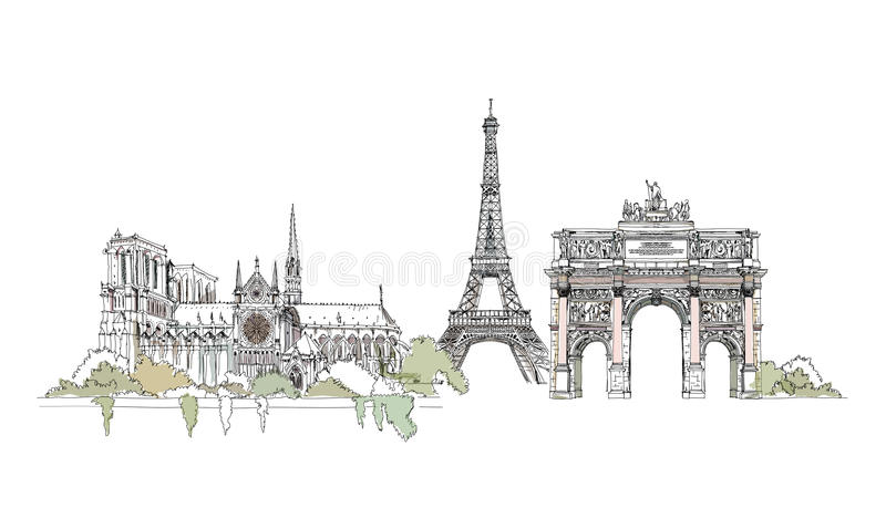 Paris, Notre Dame. Thriumph arch and Eiffel Tower, sketch collection royalty free illustration