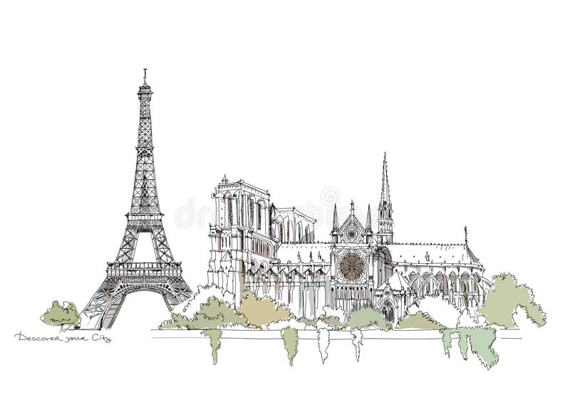 Paris, Notre Dame. Thriumph arch and Eiffel Tower, sketch collection vector illustration