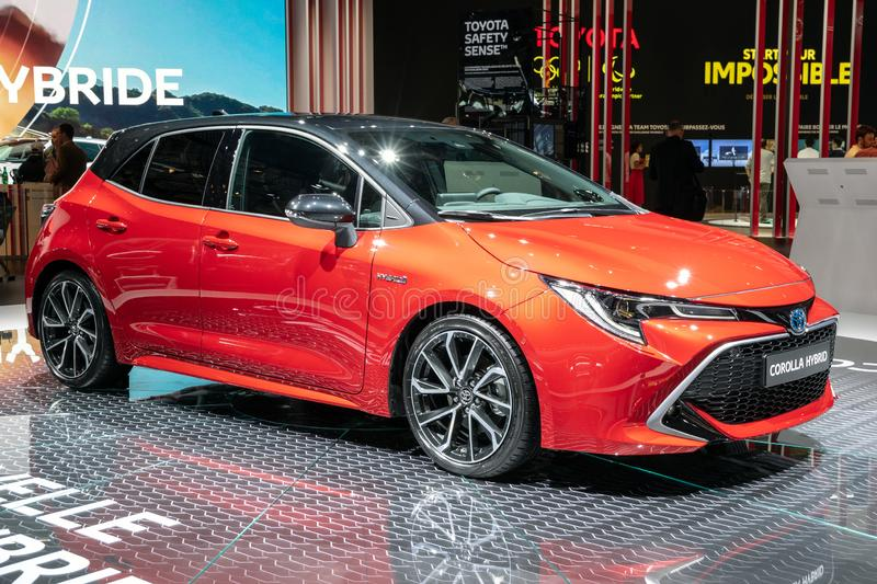 New Toyota Corolla Hybrid car showcased at the Paris Motor Show. PARIS - OCT 3, 2018: New Toyota Corolla Hybrid car showcased at the Paris Motor Show stock images