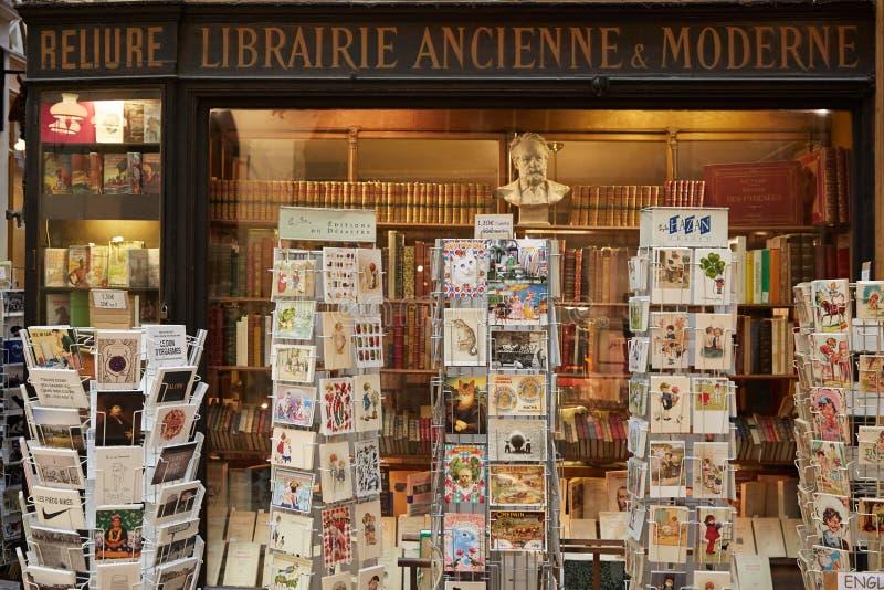 Paris, old bookshop in Galerie Vivienne stock image