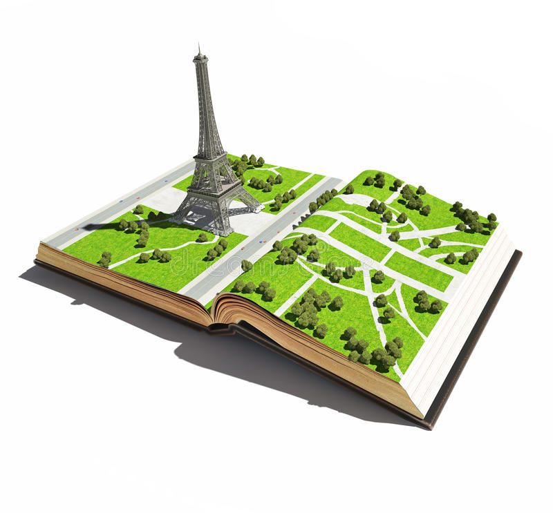 Paris in the the open book vector illustration