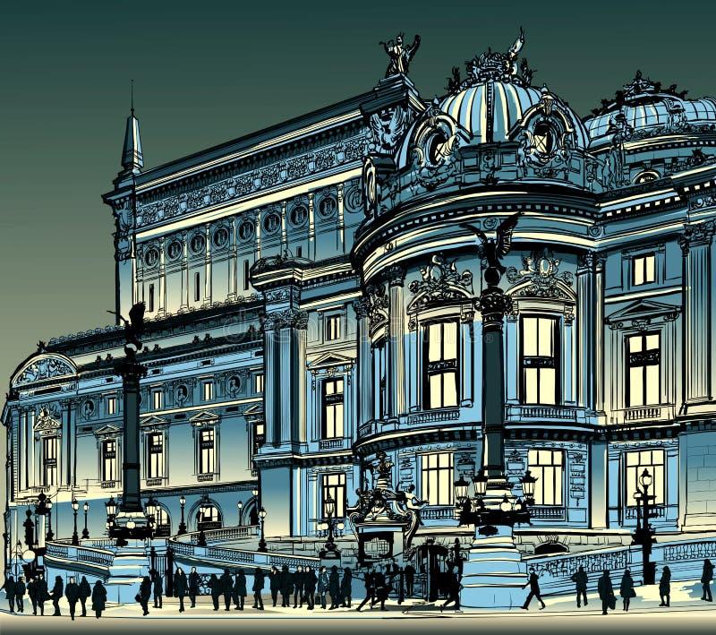 Paris opera Garnier på natten royaltyfri illustrationer