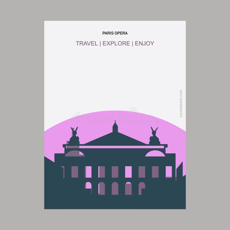 Paris opera, mall för affisch för gränsmärke för Frankrike tappningstil royaltyfri illustrationer