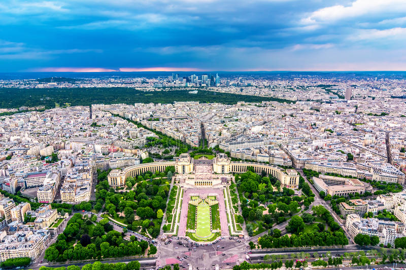 Paris over-view from Eiffel Tower royalty free stock photos