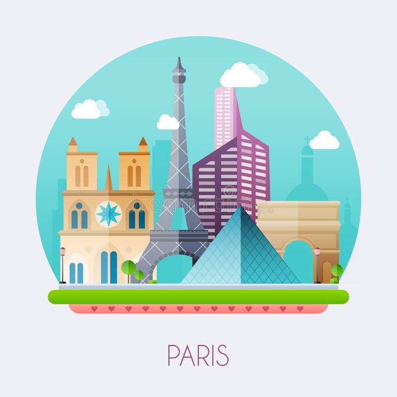 paris Paisagem da skyline e do vetor das construções e do la famoso ilustração stock