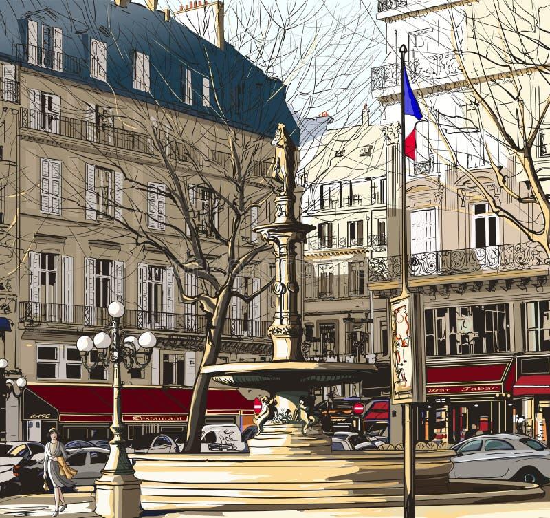Paris - Palais Royal ilustração royalty free