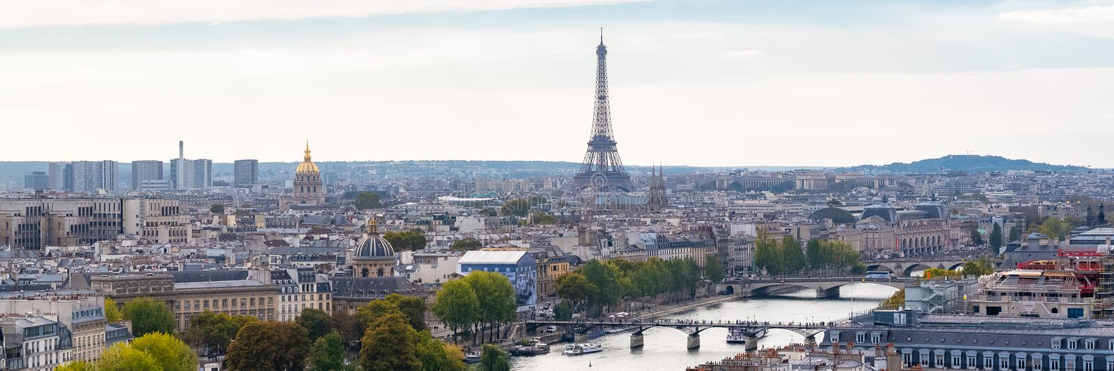 Paris, panorama. Of the Eiffel tower, with the Seine and bridges, and the most famous monuments stock images