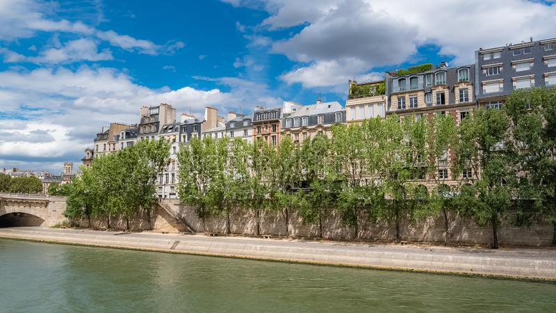 Paris, panorama of the Pont-Neuf, the ile saint-louis. And the quai des Orfevres, beautiful buildings and banks of the Seine royalty free stock image