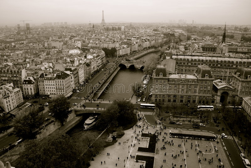 Paris, Panorama, Schwarzweiss stockfotos