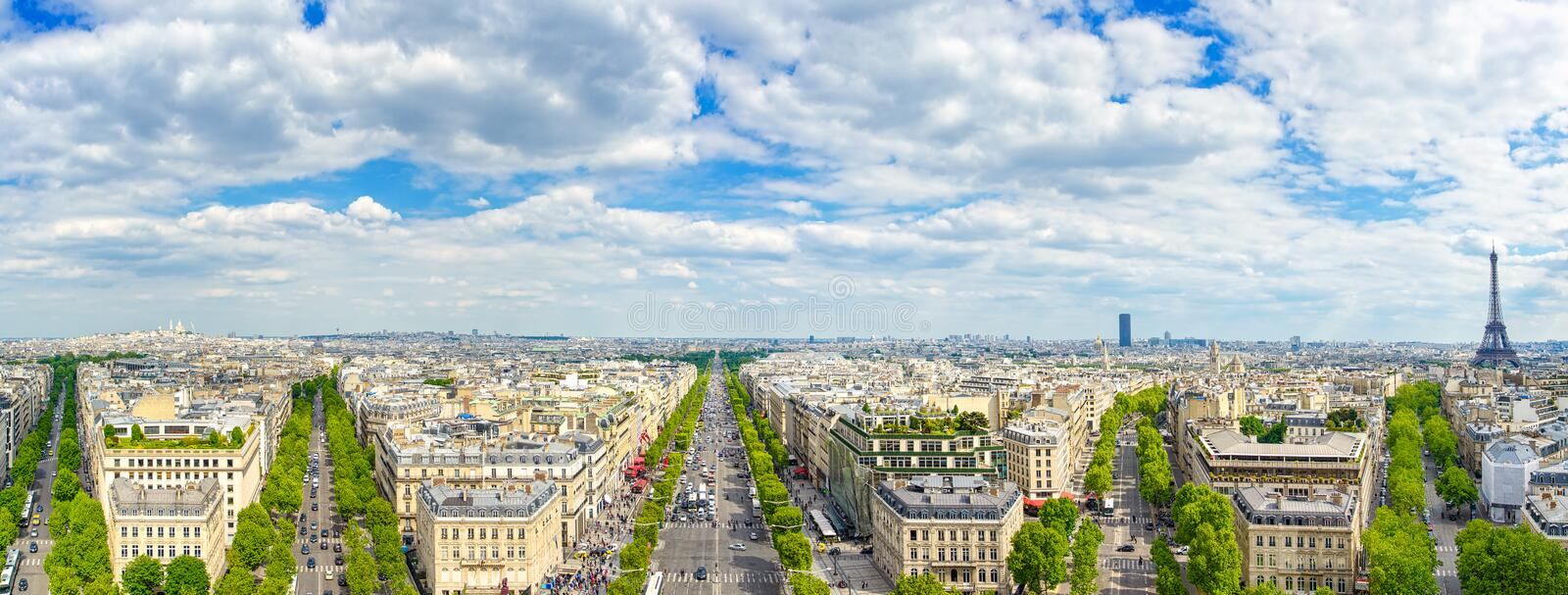 Paris, panoramic aerial view of Champs Elysees and other building landmarks. Paris, panoramic aerial view of Champs Elysees boulevard and other building stock image