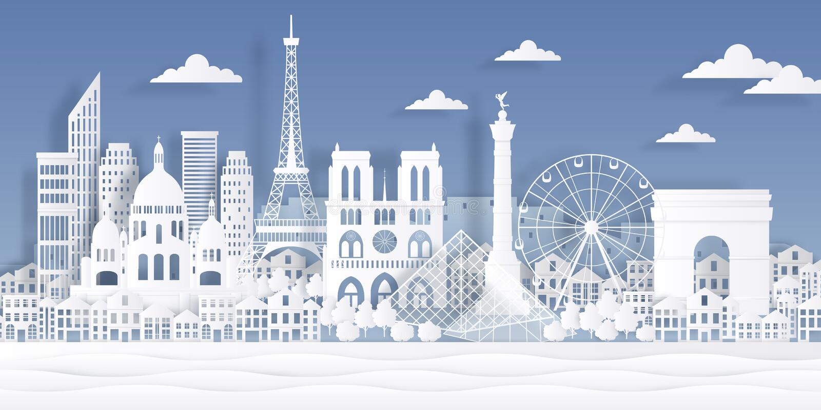 Paris paper landmark. Eiffel tower french monument, travel city symbol, paper cut cityscape design. Vector Paris origami. Skyline landscape royalty free illustration