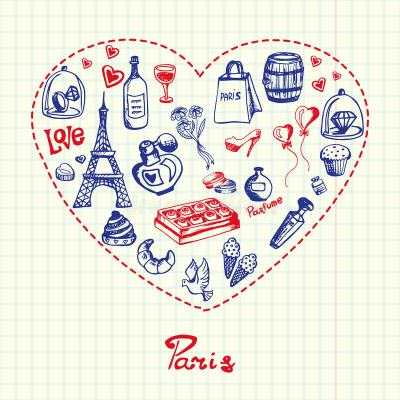 Paris Pen Drawn Doodles Vector Collection. Love Paris. Dotted heart filled with doodles associated with french capital drawn on squared paper vector illustration vector illustration
