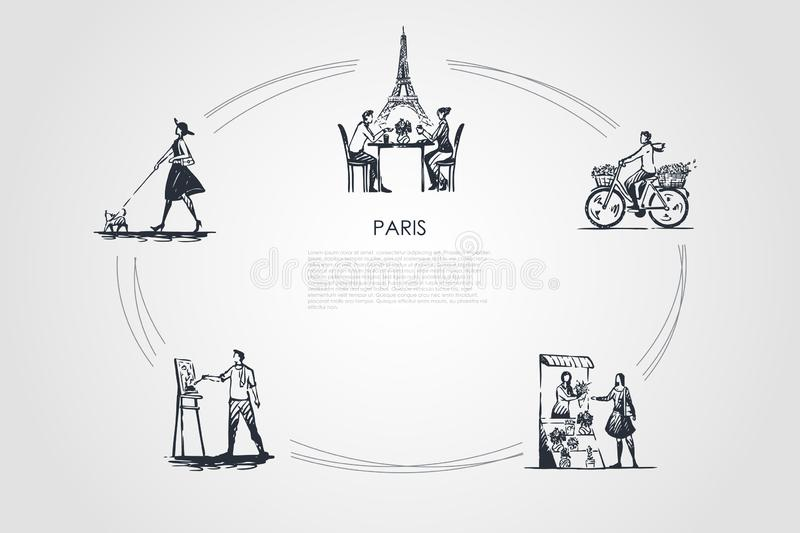 Paris - people riding bicycle, drinking coffee with Eiffel towel behind, painting, buying flowers, walking dog vector concept set. Hand drawn sketch isolated stock illustration