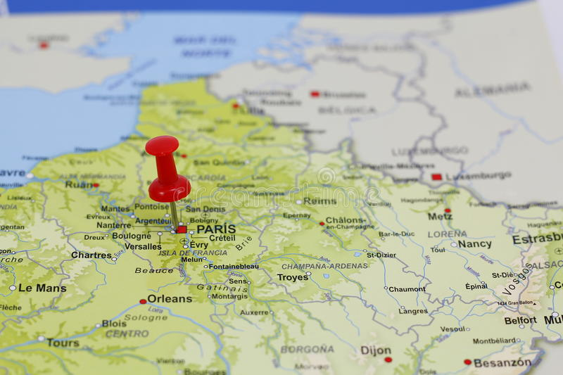 Download Paris pin in a map stock image. Image of target, direction - 83715415