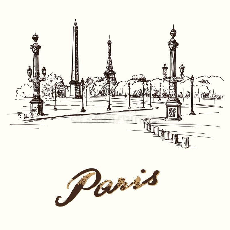 Paris - Place de la Concorde stock abbildung