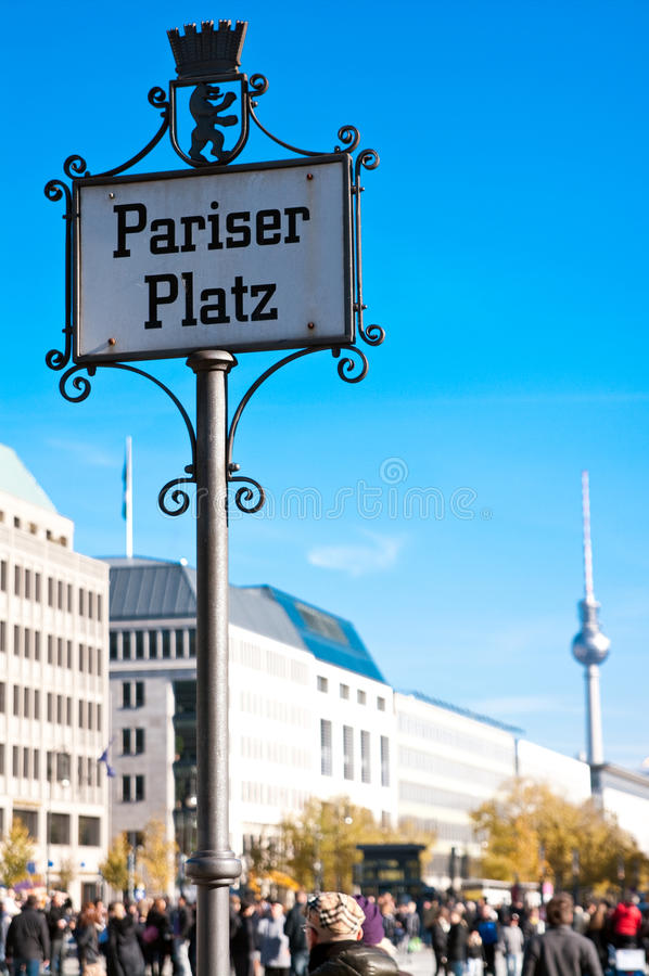 Paris plaza (Pariser Platz) Berlin. Famous Paris plaza (Pariser Platz) in Berlin, Brandenburg gate place, with TV tower in the background royalty free stock photos
