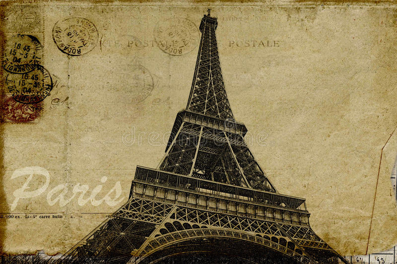 Paris postcard stock illustration