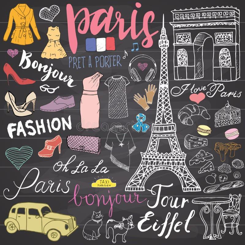 Paris rabisca elementos O grupo tirado mão com torre Eiffel produziu o café, arco do triumf do táxi, catedral de Notre Dame, elem ilustração royalty free