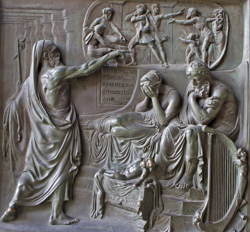 Paris - Relief from Madeleine church - prophet and king Ahab - old testament scene from year 1837 by M. Triqueti. On April 11, 2004, Paris stock photography