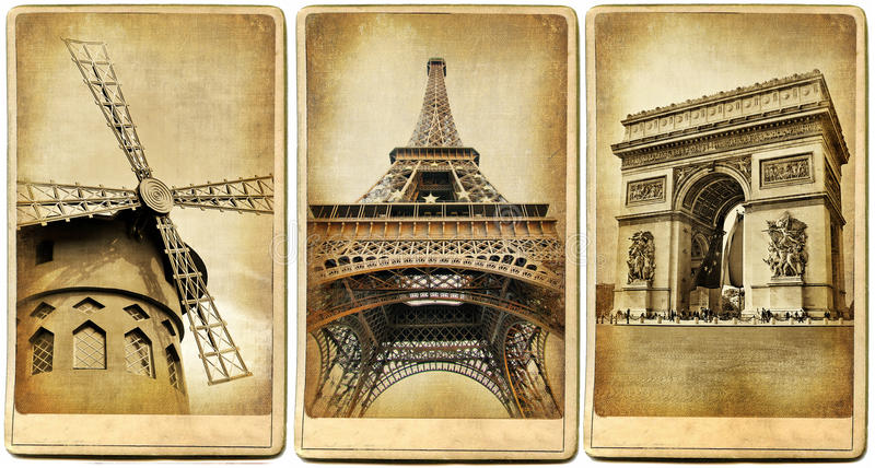 Paris- retro cards. Memories about Paris - vintage cards series
