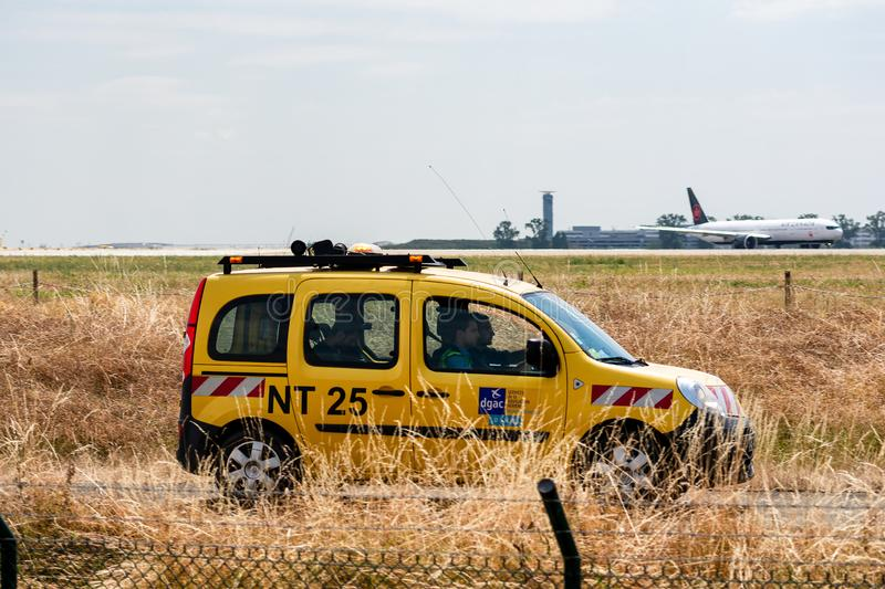Service vehicle from Paris Roissy Charles de Gaulle Airport stock photography