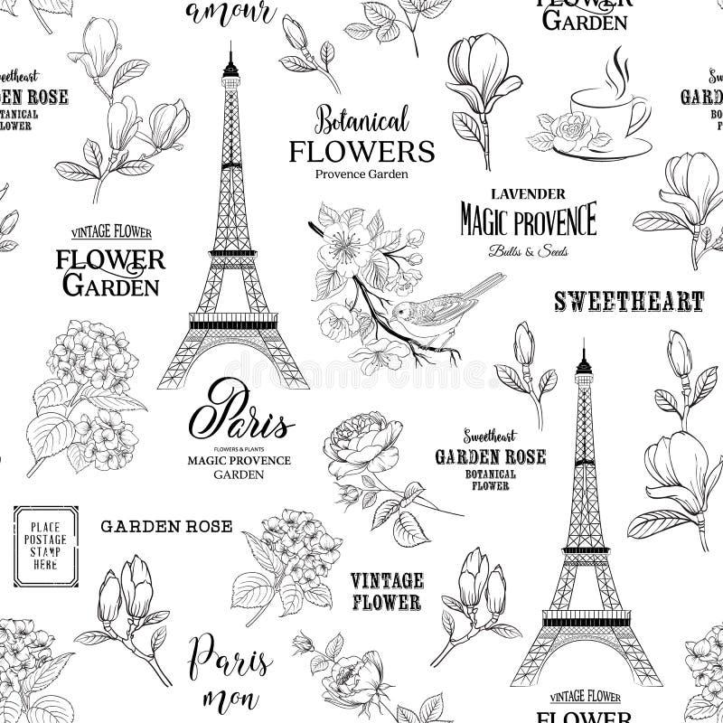 Paris romantic seamless pattern. vector illustration
