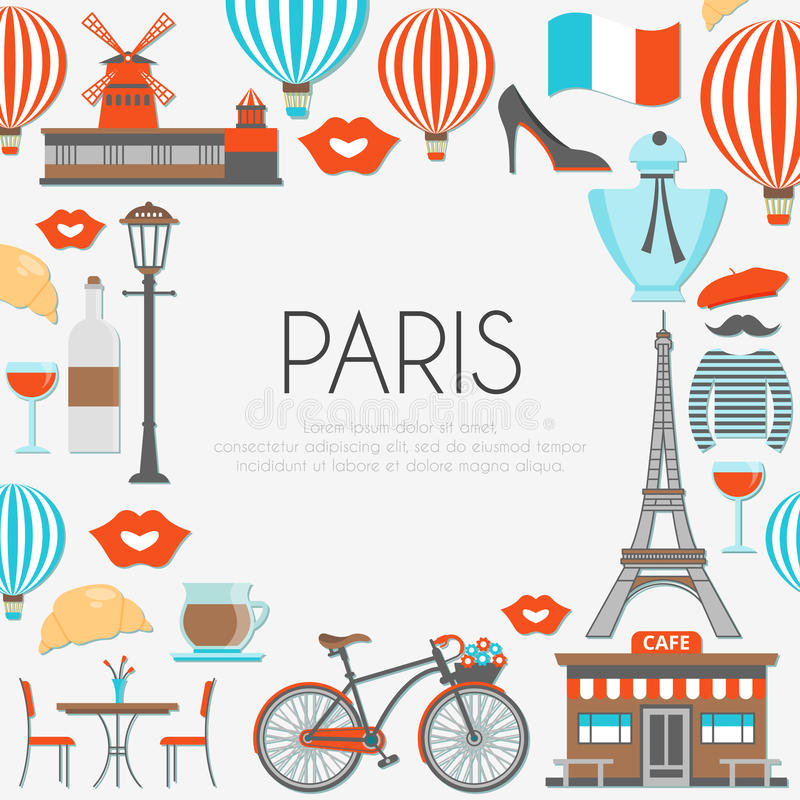 Paris Round Composition. With famous buildings french food and clothing imprints of lips and balloons vector illustration vector illustration