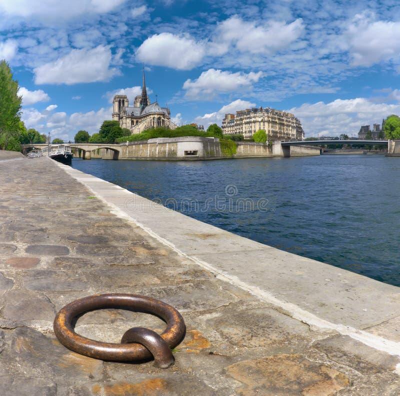 Paris södra bank av floden Seine med den Notre-Dame domkyrkan i Sp fotografering för bildbyråer
